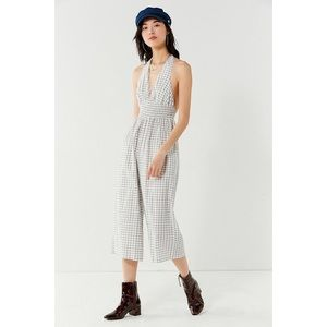 Urban Outfitters Donna Rae Smocked Halter Jumpsuit